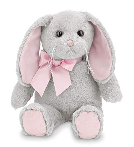 (Bearington Lil' Mopsy Gray and Pink Plush Animal Bunny Rabbit, 12 inches)