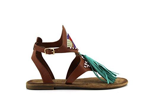 Modelisa - Sandalias Borla Hebilla Mujer Camel