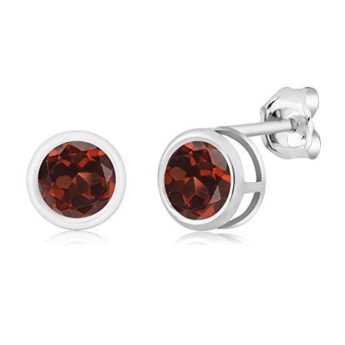 Gem Stone King 1.20 Ct Round Red Garnet Sterling Silver bezel Stud Earrings 5mm