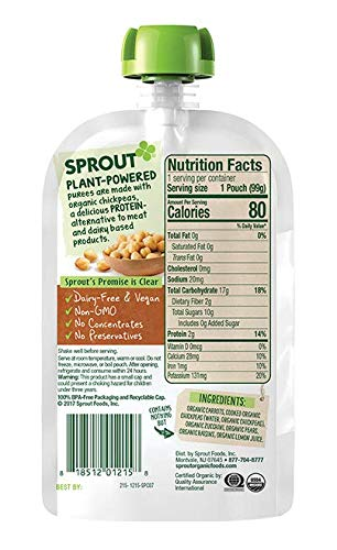 Sprout Organic Baby Food Pouches, Stage 2 Sprout Baby Food, Plant ProteinCarrot Chickpeas Zucchini Pear, 3.5 Ounce (6 Count) 2 Grams of Plant Powered Protein, USDA Organic, Non-GMO, Nothing Artificial by Sprout