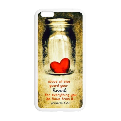 iPhone 6 Plus 5.5inches Case Cover - Bible Verse - Proverbs 4:23 Above Else, Guard Your Heart - Vintage Heart Bottle iPhone 6 Plus TPU (Laser Technology) Case Rubber Sides Shell, For Every Thing You D