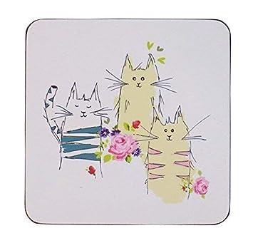 4 Gatos en Cojines Rosa Azul Dorso de Corcho Táblex Posavasos 10CM X 10CM: Amazon.es: Jardín