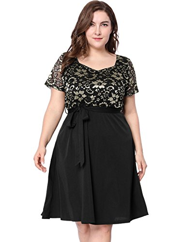 Agnes Orinda Women's Plus Size Square Neck Lace Panel Belted Dress 3X Black (Belt Lace Belted)