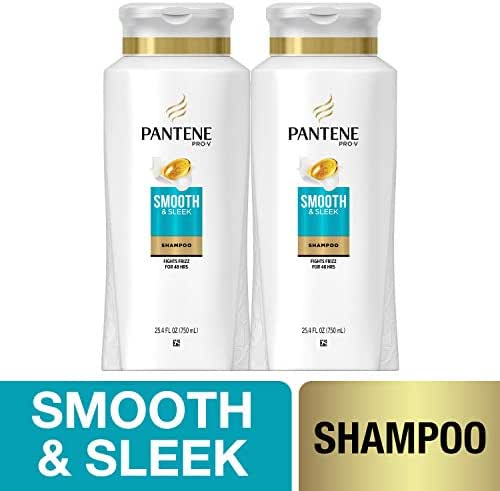 Pantene, Shampoo, with Argan Oil, Pro-V Smooth and Sleek Frizz Control, 25.4 fl oz, Twin Pack