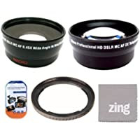 67mm 2X Telephoto Lens + 67mm 0.45x Wide Angle Lens with marco for Canon SX30IS SX30 IS SX40 HS SX40HS SX50 HS SX50HS Digital Camera + Filter Adapter + More!!