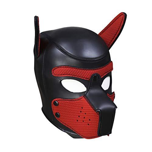 (Novelty Costume Dog Head Masks Neoprene Puppy Hood Custom Animal Full Face Head Mask (L, Red))
