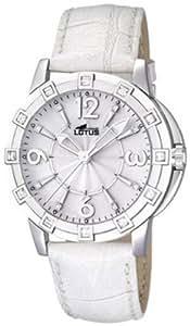 Lotus 15745/1 - Reloj analógico de cuarzo para mujer con correa de piel, color blanco