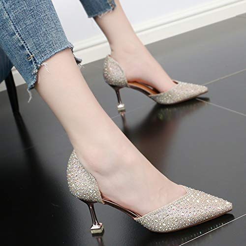 color Drill Shoes Scene High Pointed Fashion 8Cm SFSYDDY Night Sexy Fairy Heeled Champagne Shallow Shoes Mouth And S0axRpq