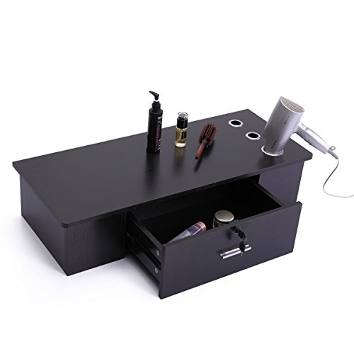 LAZYMOON Salon Wall Mount Stations Black Classic Styling Salon Locking Cabinet Storage Classic Furniture