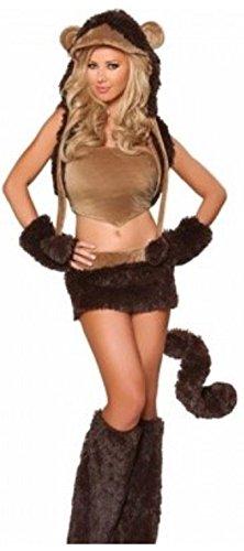harrowandsmith Femme Sexy Ours Singe déguisement Halloween pour femme en fausse fourrure animal, UK 6–8
