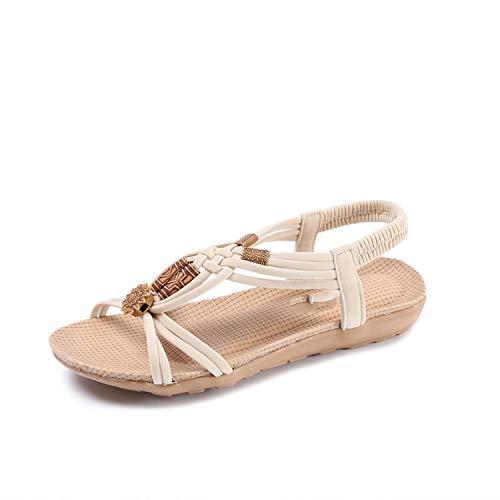 Sandals Women Summer Bohemian Flat Fishbone Sandals Beaded Handmade Roman Sandals Beige -