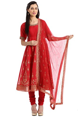 BIBA Women's Anarkali Cotton Silk Suit Set 34 Red by Biba