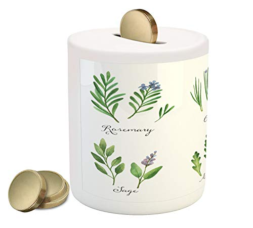 Lunarable Herb Piggy Bank, Hand Painted Organic Wild Plants Medicine Healthcare Theme Farming Gardening, Ceramic Coin Bank Money Box for Cash Saving, 3.6