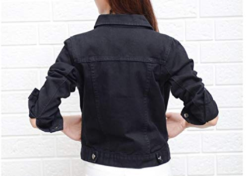 Sleeve Fitted Jacket Mogogo Trucker Long Coat Black Denim Trench Autumn Womens rzzqX80