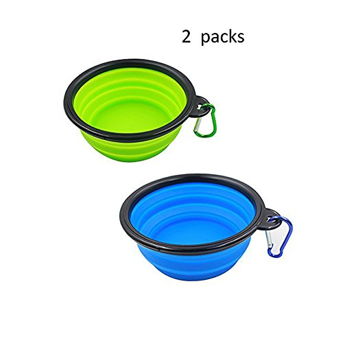 Blue Appliances Moon (Collapsible Travel Bowl 2 Packs of Dog Bowls, Water Feeder Bowls for Pets Free Carabiner ,Food Grade Silicone Environmental Protection Material (BLUE+GREEN) by Moon River)