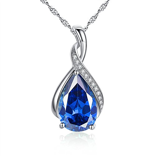 MABELLA Jewelry Sterling Silver Simulated Blue Sapphire Birth Month Stone Pendant Necklace Mother's Day Gifts for ()