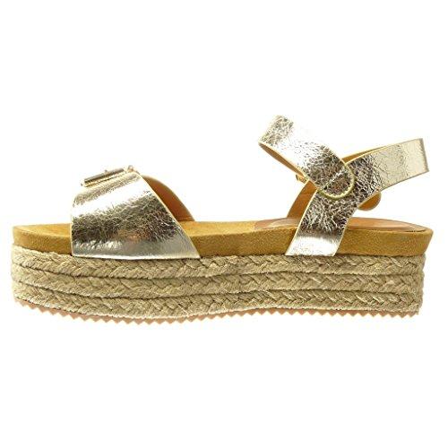 Angkorly - Zapatillas de Moda Sandalias alpargatas zapatillas de plataforma mujer brillantes tanga Hebilla Talón Plataforma 4.5 CM - Oro
