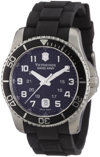 Swiss Army Date Wrist Watch - Victorinox Swiss Army Men's 241435 Maverick Rubber Black Dial Watch