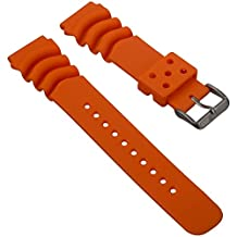 High Quality PU Dive Watch Band for Seiko Z20 Monster, Orange 20mm