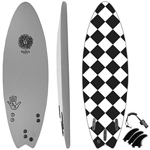 KONA SURF CO. The 5-5 Soft Top Foam Short Softboard Hybrid Boogie Bodyboard Surfboard Includes Fins and Leash in Grey sz:5ft 5in -