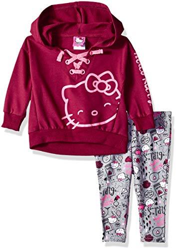 Hello Kitty Girls' Baby 2 Piece Legging Set, Burgundy/Gray, 18M (Hello Kitty Leggings)