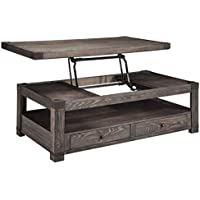 Bowery Hill Lift Top Coffee Table in Grayish Brown