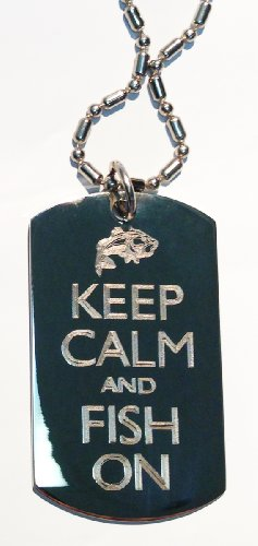 Keep Calm & Fish On Bass Fisherman - Military Dog Tag,, used for sale  Delivered anywhere in Canada