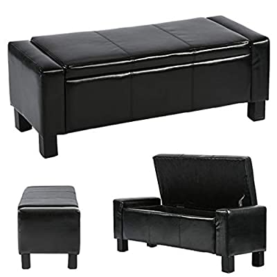 """BestMassage Storage Ottoman Bench Bed Bench Bedroom Bench Seat Footstool with Leather Tufted Upholstered Rectangular 42"""",Black"""