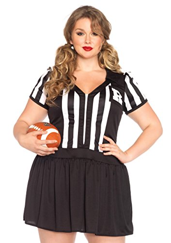 Leg Avenue Women's Plus-Size Halftime Hottie Referee Costume, Black/White, 1X