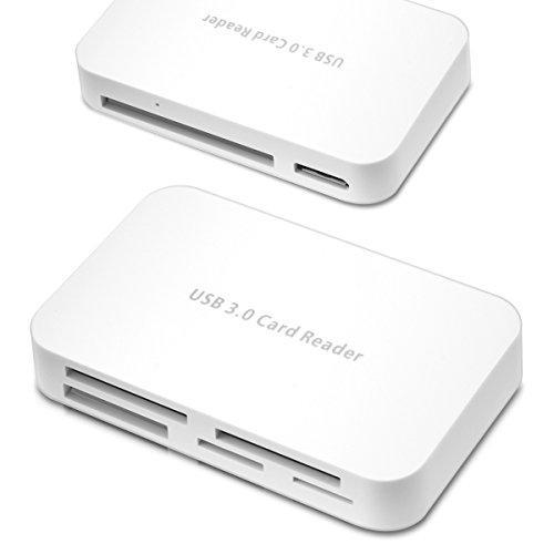 kwmobile USB Kartenleser All in One, Card Reader mit USB 3.0 zum Lesen von SD, MMC, Compact Flash und weiteren. Kartenlesegerät in Weiß