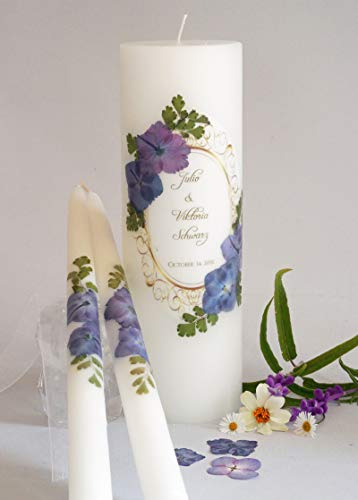 Traditional Unity Candle - Vintage Purple Hydrangea Wedding Unity Candles
