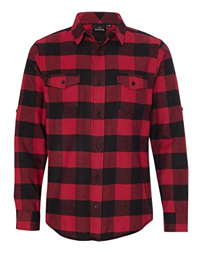 Burnside Yarn-Dyed Long Sleeve Flannel Shirt.B8210 X-Large Red / Black Buffalo - Red Flannel Shirt For Men