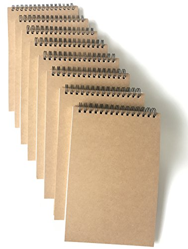 - VEEPPO A5 Top Spiral Top Big Wire Journals Bulk Steno Pads Blank/Lined Kraft Brown Cardboard Cover Thick Cream Writing Pad Sketchbook Scrapbook Album (Horizontal Blank White-Pack of 8)