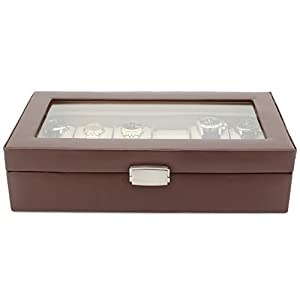 Tech Swiss TS5850BRN Leather Watch Box Extra Large Watch Case