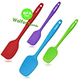 WALFOS Silicone Spatula Set - High Heat Resistant Non-Stick Silicone Spoon & Spatulas for Baking,Cooking and Mixing - Strong Stainless Steel Core Design (4-Piece Set) - BPA Free & Food Grade
