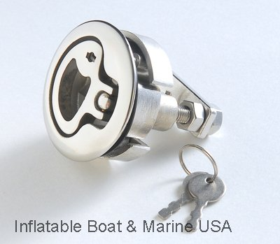 Shaft Latch (Inflatable Boat & Marine USA Boat Hatch Lift Ring Handle-Turning Lock Latch-Locking 2 1/2 shaft – Marine 316 Stainless Steel)