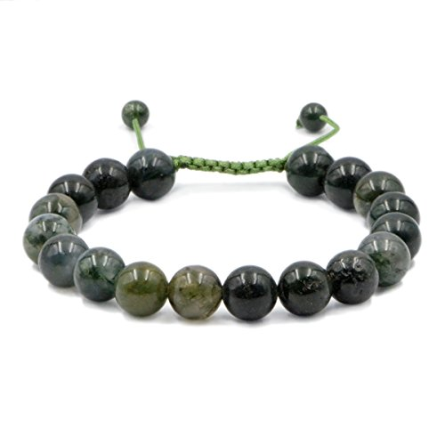 AD Beads Natural 10mm Gemstone Bracelets Healing Power Crystal Macrame Adjustable 7-9 Inch (Moss Agate)