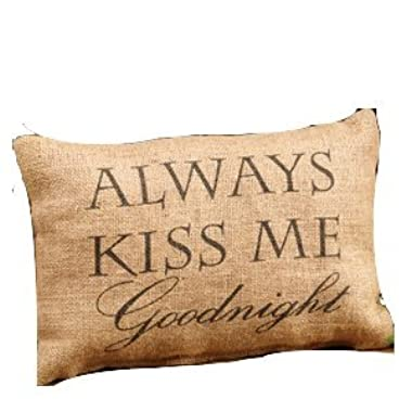 Country House Collection Primitive Cotton 12  x 8  Throw Pillow (Always Kiss Me Goodnight)