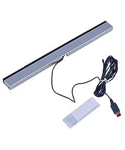 Reemplazo de infrarrojos TV Ray con cable Sensor remoto Receptor Inductor para Nintend para Wii para la consola Wii U (Negro con plateado)