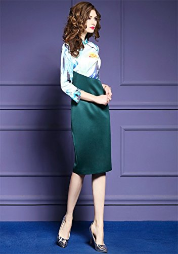 cotyledon Women`S Cheongsam Fit Stand Slim Dress Printed Collar qUS8wqn4Z
