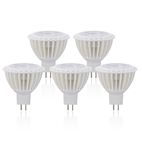 3W 40W Equivalent GU5.3 Small Base Spotlight Bulb Flood Lamp Not Dimmable Warm White 3000K 12V,38 Degree Beam 270 Lumens - 5 Pack - Sl Series Accent Table