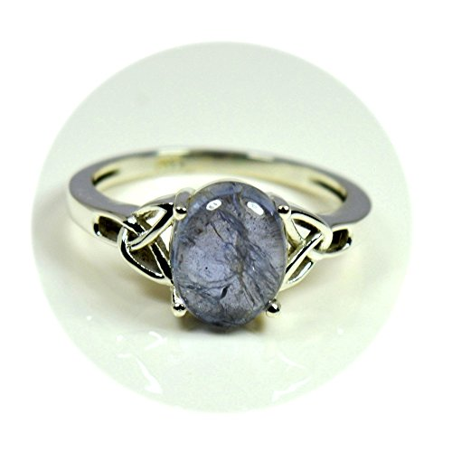 55Carat Natural Iolite Silver Ring Blue Oval Gemstone Chakra Healing Handmade Size 5,6,7,8,9,10,11,12 (Gemstone Iolite Ring)