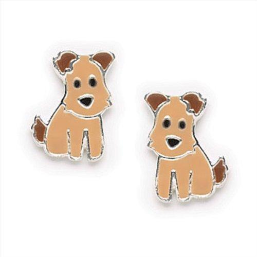 Ruff the Dog - Small Enamel Dog Earrings for Girls, Teens or Women in Sterling Silver, #7144