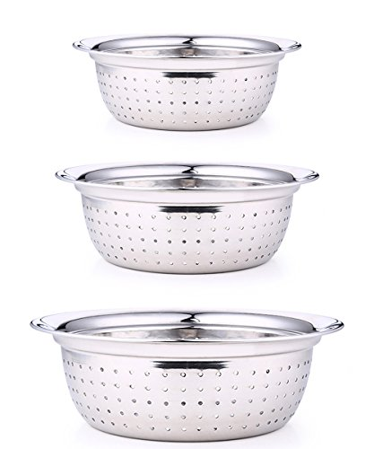 PER-HOME 3 Sets Professional Stainless Steel Colender With Broad Lip For Your Kitchen-mirror - Polished Colander Stainless