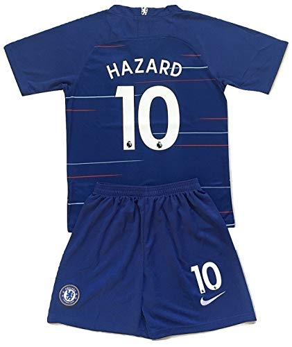 c1a6fcd2c63 Enevva Hazard #10 Chelsea FC 2018-2019 Youths Home Soccer Jersey & Shorts  (9-10 Years Old)