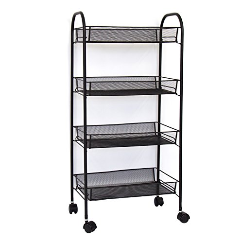 4-Tier Light Duty Shelves Mesh Rolling Storage Cart Portable Stand for Servicing Multifunction Organization Kitchen Cart w/Swivel Wheels, Black,Home,Kitchen,Office