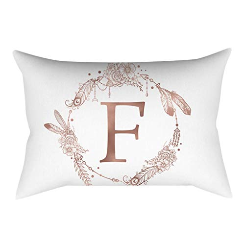 (Fulijie Throw Pillow Covers, Rose Gold Powder English Alphabet Print Cushion Cover Home Decor for Couch Bed 12 x 20 Inch)