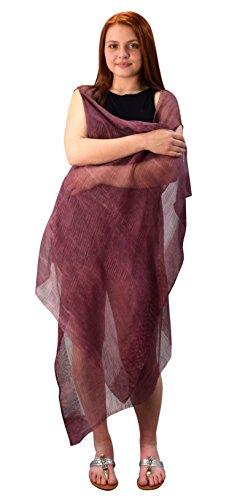 - Peach Couture Sheer Open Front Cardigans Tasseled Hem Tunic Kimono Beach Wear (Laced Maroon)