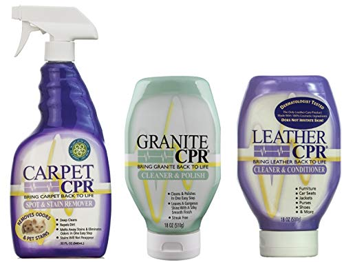 Leather CPR - Carpet CPR - Granite CPR - Cleaning Variety Pack - Clean & Condition Leather, Treat Carpet Stains, and Clean & Polish Granite with This 3-in-1 Savings