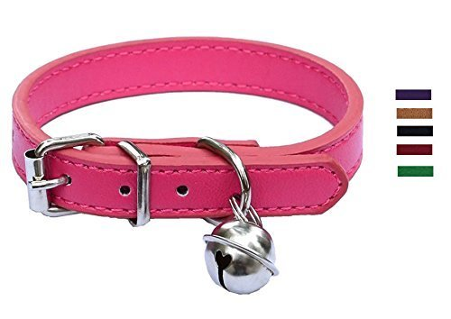 New Pink Leather Pet collars for Cats,Baby Puppy Dog,Adjustable 8